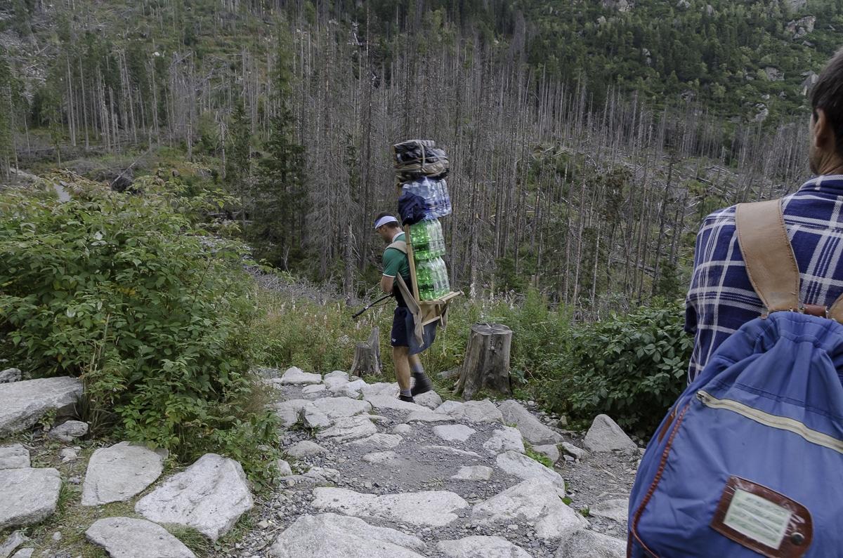 A mountain porter carrying supplies