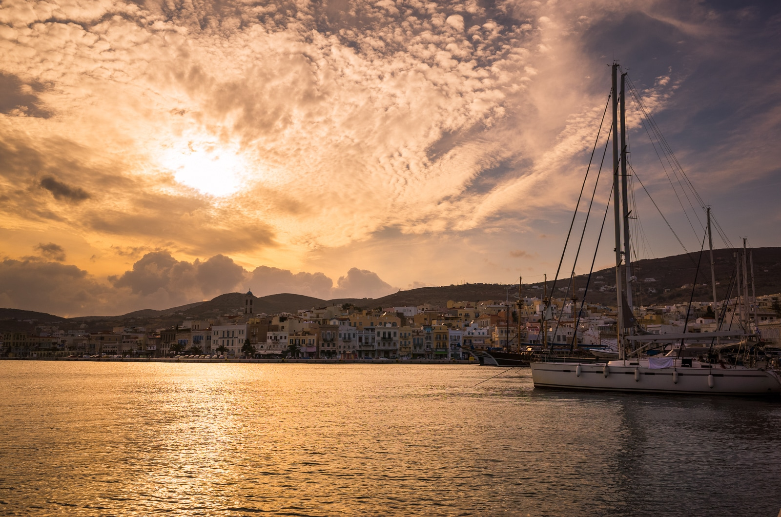 Syros : A Greek Island with Roman Influence Harbor sunset